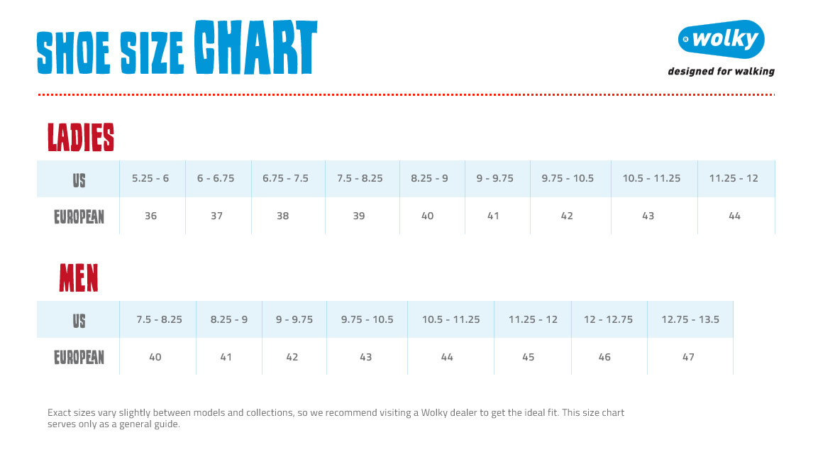 Keeping Pace Shoe Size Chart